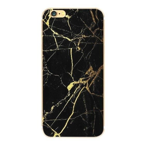 Telefoonhoesje - Iphone 6/6S - Black Marble Gold