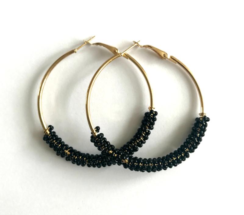 Oorbellen - Glamour Hoops Black
