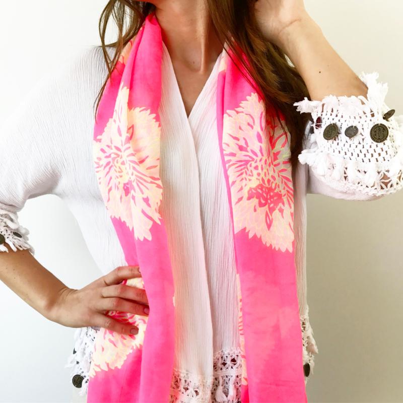 Sjaal - Pink Flowerbomb