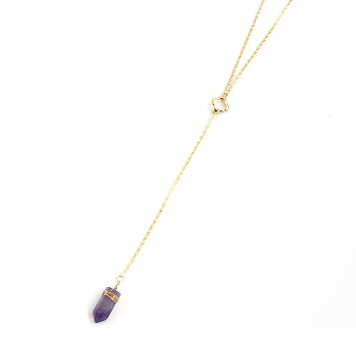 Ketting - Long Necklace With Clover And Purple Stone