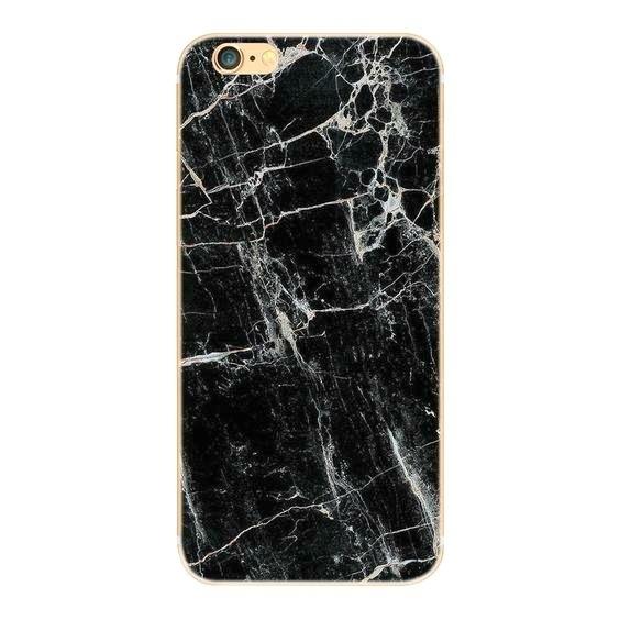 Telefoonhoesje - Iphone 6/6S - Black Marble Silver