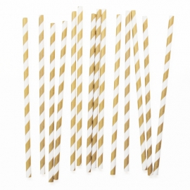 Paper drinking straws gold stripes