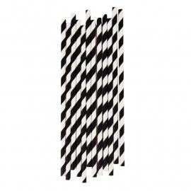 Paper drinking straws black stripes