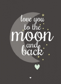 Love You To The Moon - zwart