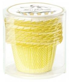 Baking cups geel gestippeld