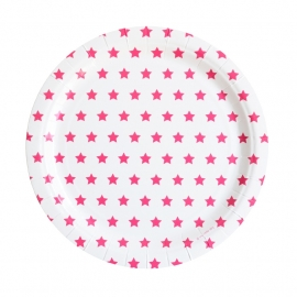 Papieren bordjes roze sterren