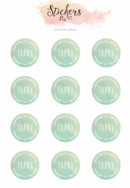 Mini letter seal stickers - Thankx in mint