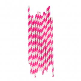 Papieren rietjes strepen candy pink