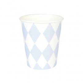 Paper cups light blue diamond