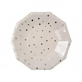 Zeshoekige papieren bordje zilver sterren