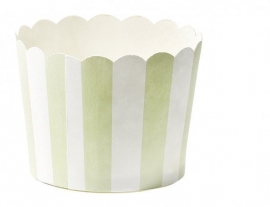 Baking cups mint green striped