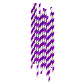 Paper drinking straws violet stripes