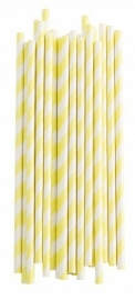Paper drinking straws yellow stripes