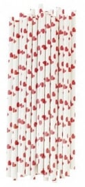 Paper drinking straws red hearts