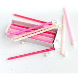 Taartkaars glitter roze