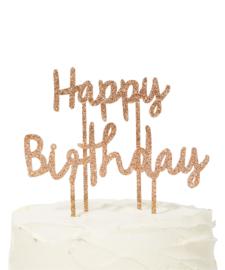 Taarttopper | Happy Birthday goud