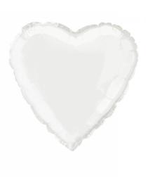 Folieballon hart 45 cm | Wit