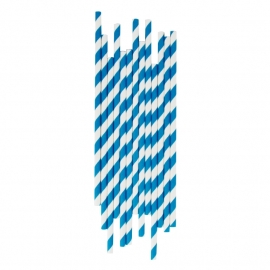 Paper drinking straws blue stripes