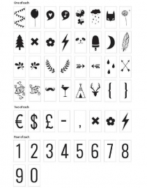 Lightbox symbol set  voor Lightbox | Numbers & symbols