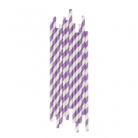 Paper drinking straws lila stripes