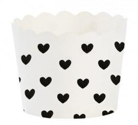 Baking cups zwarte hartjes