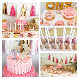 Sweet table 1st birthday Mila pink & gold