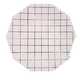Papieren bordjes grid zilver