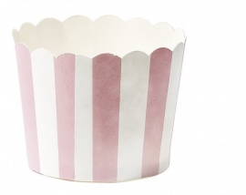 Baking cups roze wit gestreept