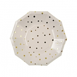 Paper plates golden stars hexagon