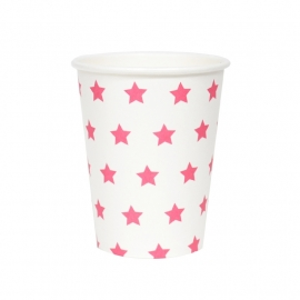 Paper cups pink stars