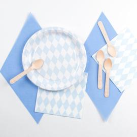 Papieren bordjes ruiten licht blauw