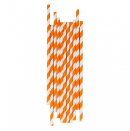 Paper drinking straws orange stripes