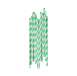 Paper drinking straws stripes aqua