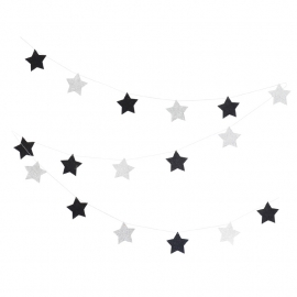 Black & silver star garland