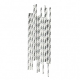 Paper drinking straws silver stripes