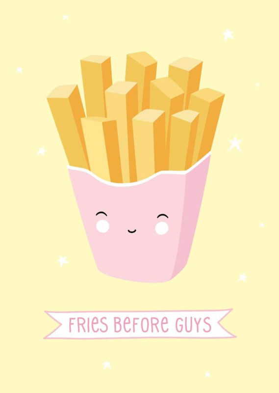 Postcard fries before guys