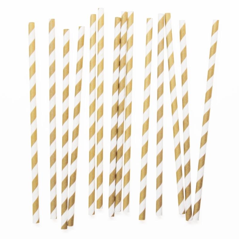 Paper drinking straws gold stripes