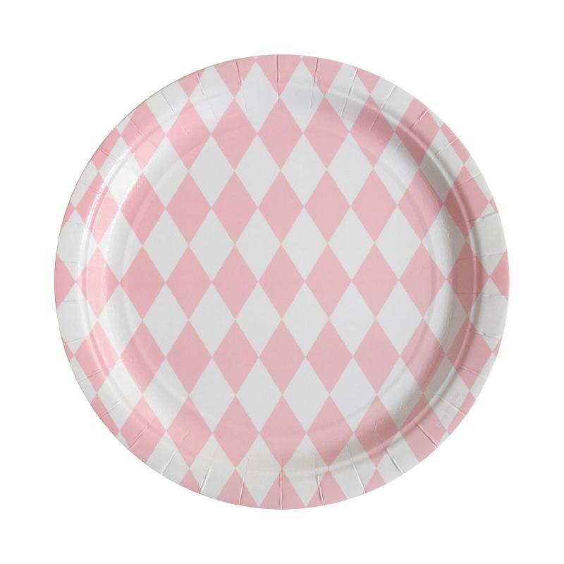 Papieren bordjes ruiten licht roze