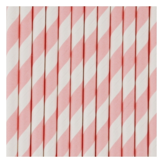 Paper drinking straws light pink stripes