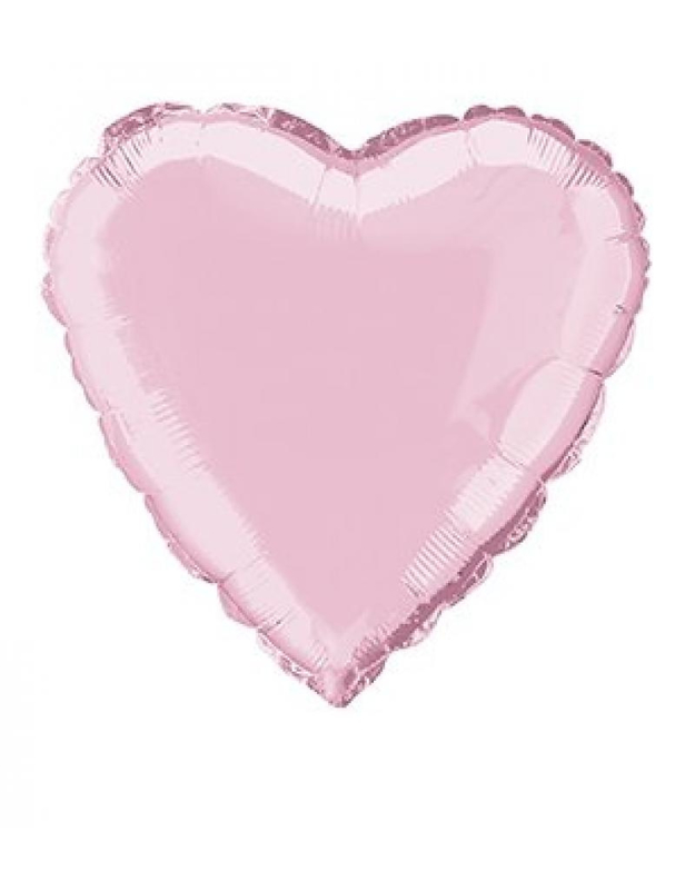 Folieballon hart  45 cm   Licht roze