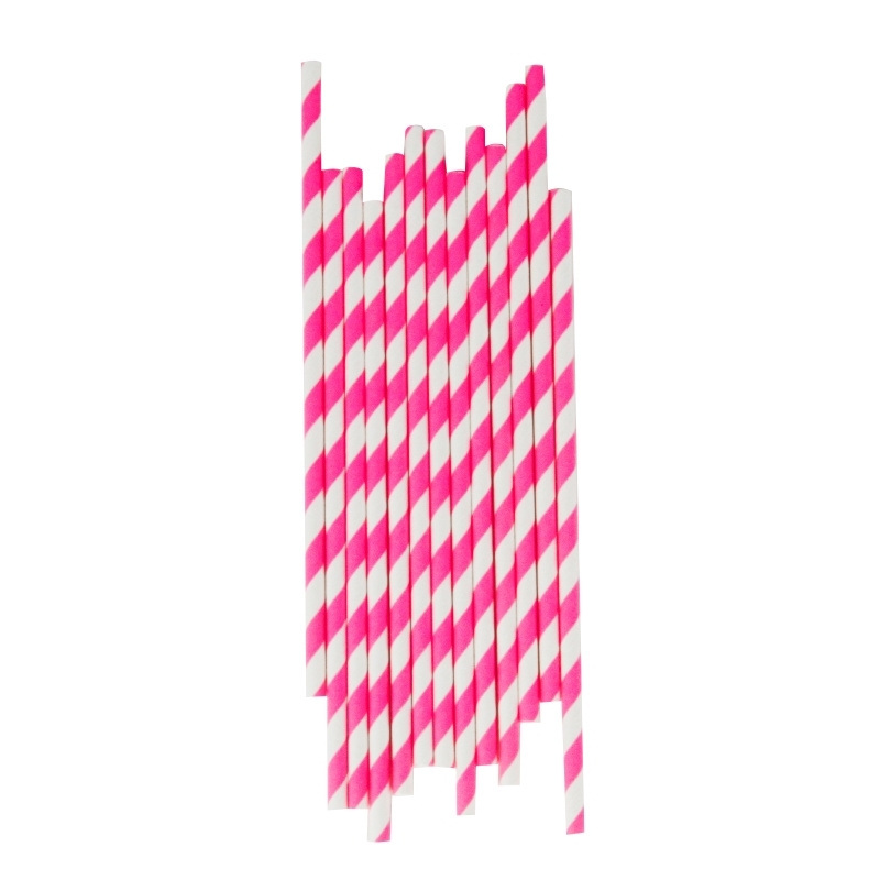 Paper drinking straws candy pink stripes