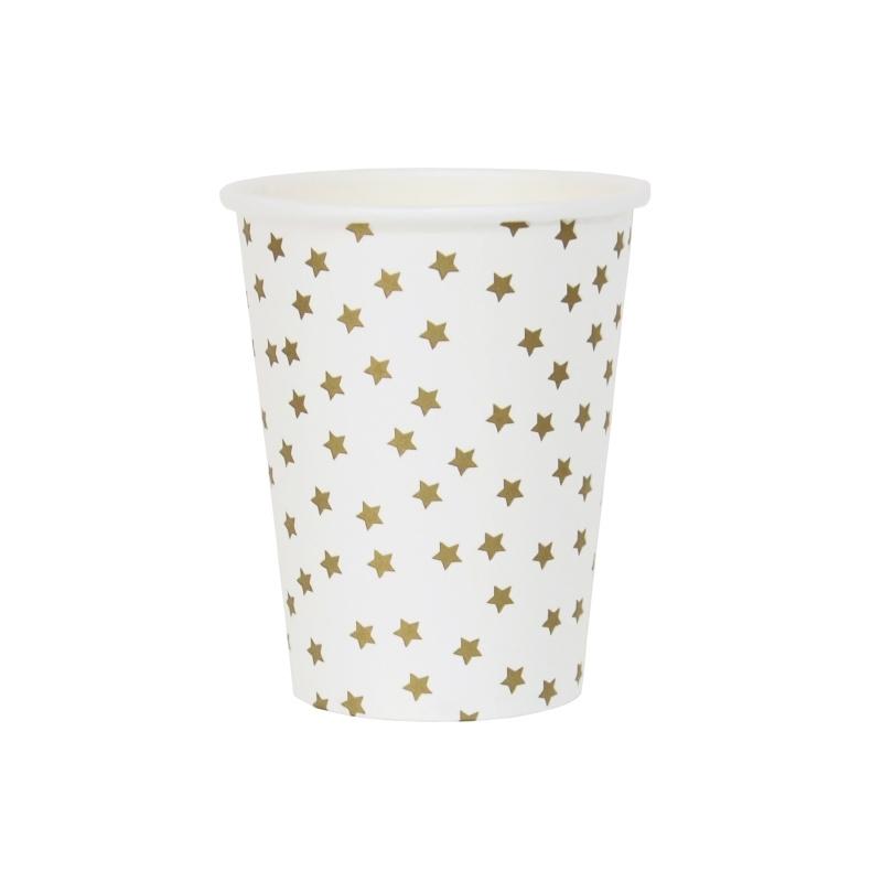 Paper cups golden stars