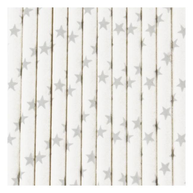 Papieren rietjes sterren zilver
