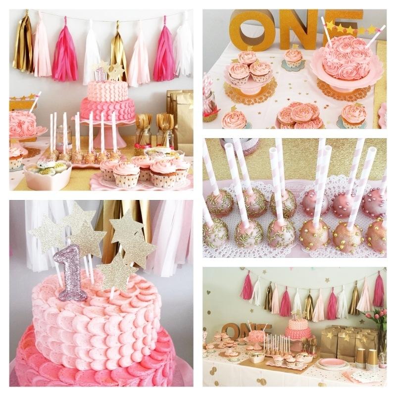 Sweet table 1e verjaardag Roze & Goud