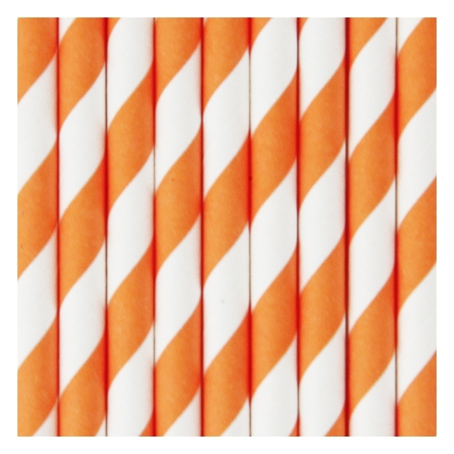 Papieren rietjes strepen oranje