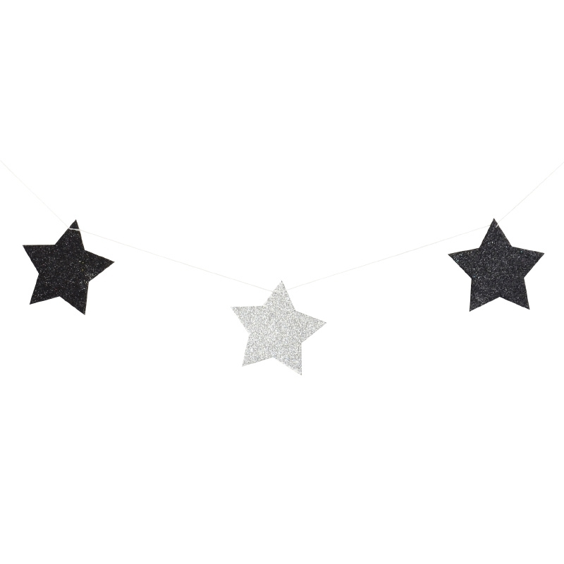 Black & silver star garland