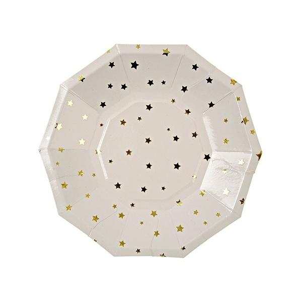Zeshoekige papieren bordjes gouden sterren