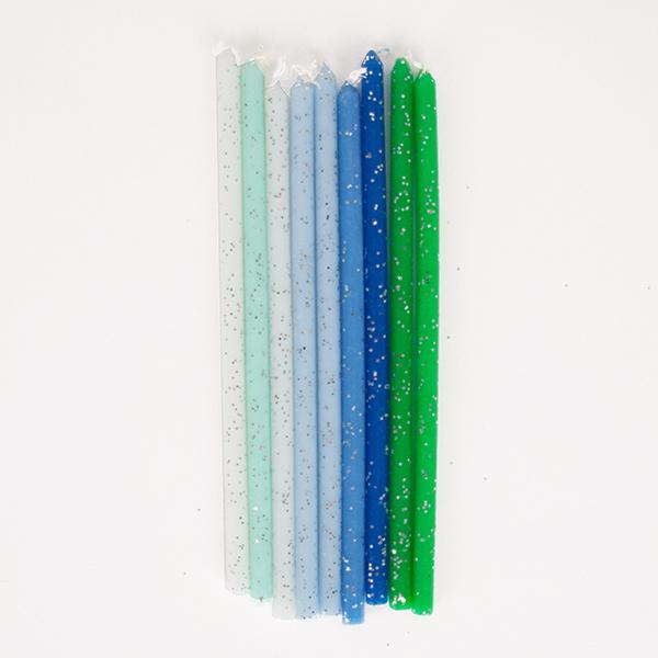 Taartkaars glitter blauw