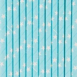 Paper drinking straws light blue and white stars