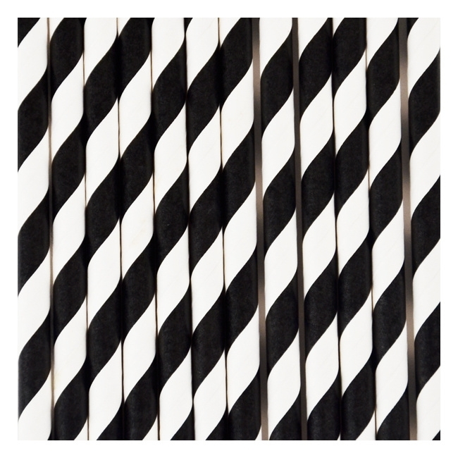 Papieren rietjes strepen zwart
